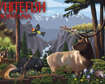 Whitefish, Montana - Wildlife Utopia (Art Prints available in multiple sizes)