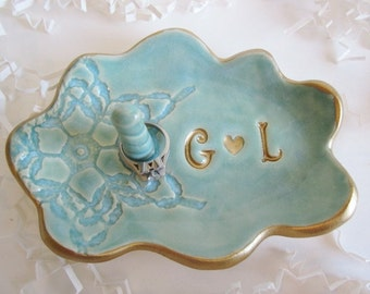 engagement gifts for couple, Wedding ring dish,  ring holder,  gold rimmed ring holder, Personalize his and hers, Ring bearer pillow