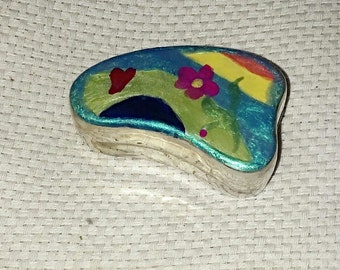 Hand Painted Solid Indian Silver Amoeba Shaped Box