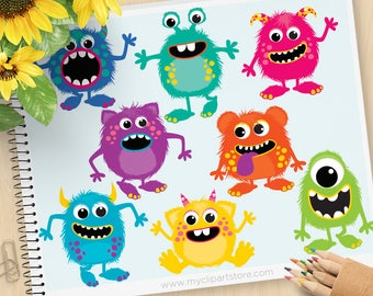 Fluffy Monsters Clipart, monster party, monster birthday, cute monsters, bright monsters, commercial use, vector clipart, SVG Cut files