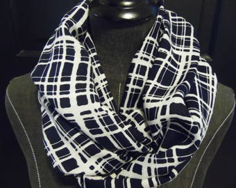 Rayon Infinity Scarves.Scarf.Gift for Her. Black and White.Plaid Scarves.Tube Scarf.Circle Scarf.