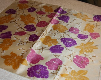 """Lady Heritage Scarf - Off White with Floral Purple, Pink, Gold 26x26"""""""