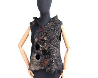 4 in 1 Wearable Art Woman Vest - Nunofelt Wool Woman Vest - Silk & merino wool - grey brown Paris Designer Reversible Vest / Bolero