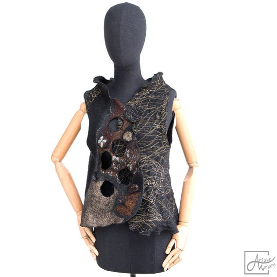 4 in 1 Wearable Art Woman Vest - Nunofelt Wool Woman Vest - Silk & merino wool - grey brown Paris Designer Reversible Vest / Bolero