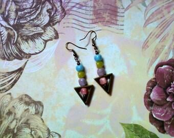 Pink, Lavender, Apple Green and Aqua Pastel Earrings (1827)
