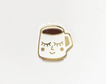 Happy Mug - Hard Enamel Pin | Coffee Pin | Tea Pin | Hot Chocolate Pin | Coffee Lover | Tea Lover | Gold Lapel Pin | Stocking Stuffer