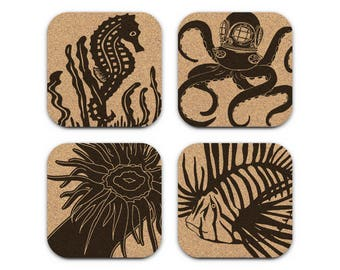 OCTOPUS SEAHORSE Lionfish Sea Anemone Nautical Coastal Cork Coaster Set Of 4 Home Decor Barware Decoration