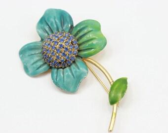 Vintage Pin Blue Green Ombre Flower Brooch Gold Blue Stones Enamel
