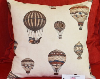 "Montgolfier Hot Air Balloons Cushion Cover 16.5""x16.5"" 42cm sq Cotton Blend Cream, Brown, Beige, Blue"