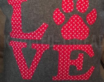 LOVE paw print pillow - Customizable - Housewarming gift - Shower Present