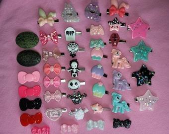 Kawaii cute small resin hairclips | lolita fairy kei pastel goth dolly party kei