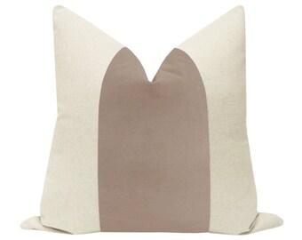 PANEL : Signature Velvet // Taupe COVER ONLY | color block | banded velvet pillow | cotton pillow | linen + light brown velvet pillow |