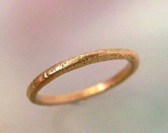 Rose Gold Wedding Band, Rustic Wedding Ring, Textured 14k Rose Gold Stacking Ring, Womens Wedding Band, Thin Wedding Ring, Made to Order