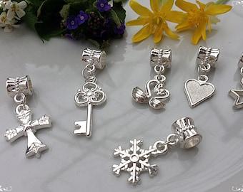 6 pcs of pendants, Pandora Style, Bright pendants, Set of pendants, Silver color, Silver pendants, Handmade pendants, Bracelet pendants
