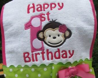 mod monkey bib,birthday bib, 1st birthday, 2nd birthday, smash cake photo,