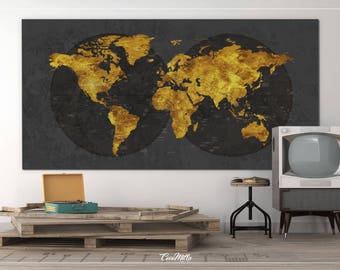 World map canvas print extra large world art push pin travel world map canvas print extra large world art push pin travel map rustic gold effect world gumiabroncs Image collections
