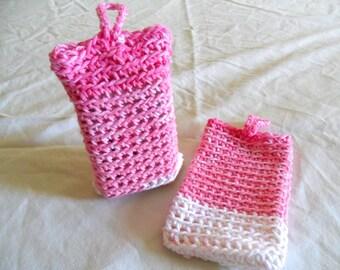 Pink Soap Saver Bag - Cotton Soap Saver Bag - Pink Cotton Soap Saver Bag - Pink Stripe Soap Saver Bag - White Stripe Soap Saver Bag