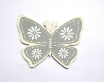 Butterfly wood medium - white floral on gray background, off white color borders