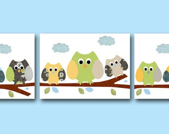 Baby Nursery Decor Boy Art for Children Kids Wall Art Baby Room Decor Baby Boy Nursery Prints set of 3 Green Blue Gray Owls Decoration