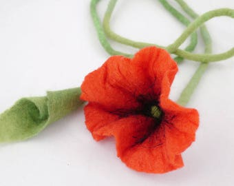 Felted Necklace-Felted flower-textile-collar-necklace Choker-red poppy