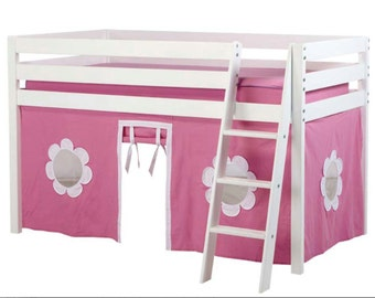 Twin Loft Bed with Hot Pink/White Curtain, White