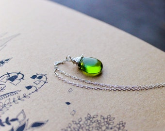 Czech glass sterling silver Necklace peridot green woodland garden wedding necklace