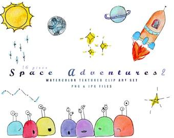 Space Adventures No 2 Watercolor Clip Art l Instant Download