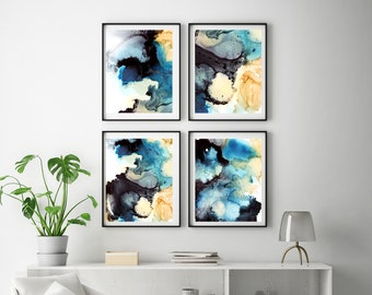 Abstract organic art prints set, turquoise grey 4 fine art prints, set of 4 prints, abstract prints wall art set, organic abstract print set