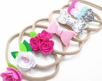 SET OF 6 Felt headbands lot 1 size fits all, comfy baby newborn girls hair, nylon hairbow, glitter cotton bows