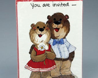 Invitations, Vintage, Suzi's Zoo, Bear, Couple, Party, Baby Shower, Wedding Shower, Housewarming, Open House,  Cottage Chic, Casual
