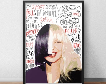 Sia quote print / poster hand drawn type / typography