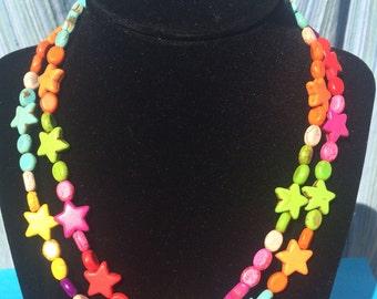 Colorful Star Necklace Multi-Strand