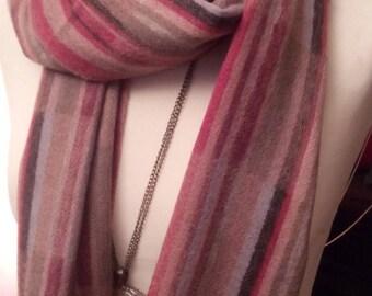 Multicolor pure cashmere stripe scarf