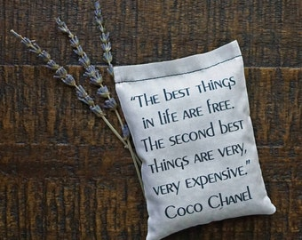 Coco Chanel Quote Lavender Sachet, Fashionable Gift, Best Things in Life are Free, Beautifully Wrapped Gift, Birthday Party Favor