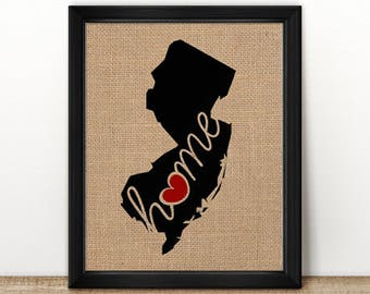 """New Jersey (NJ) """"Love"""" or """"Home"""" Burlap or Canvas Paper State Silhouette Wall Art Print / Home Decor (Free Shipping)"""