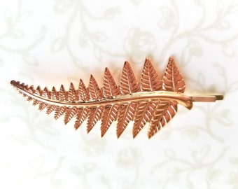 Rose Gold Fern Leaf, Hair Pin, Bobby Pin, Woodland, Rustic, Nature, Forest, Garden Wedding, Bride, Bridesmaids