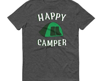 Happy Camper Couples Shirt Tent Camping Gift For Women Men Unisex Campfire Hiking Pajama Top Fathers Day