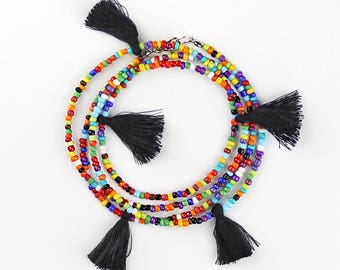 Beaded Tassel Necklace Longer Length Perfect for Layering Colorful Bohemian Hippie Style Necklace