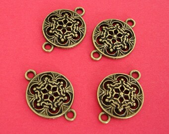 6 pcs of Antiqued Brass Flat Round Filigree Connector Link 23x16mm.