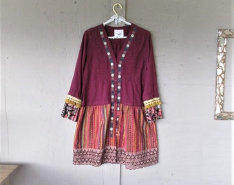 upcycled dress Bohemian Gypsy recycled clothing wine cotton hippie tunic fun clothes X L Boho Statement dress reclaimed LillieNoraDryGoods