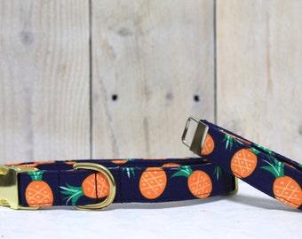 Pineapple Dog collar, navy blue dog collar, boy dog collar, girl dog collar, handmade dog collar, dog collars, dog accessories, puppy collar