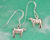 Stock Show Steer Earrings in Sterling Silver, Great Gift for FFA or 4 H