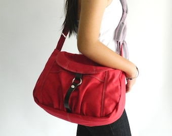 Red Messenger bag,Canvas diaper bag,women Purse, Handbag for her ,Cross body bag , shoulder bag/ Sale 25 % - no.103 CLAIRE