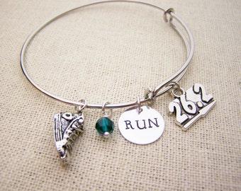 Marathon Bracelet - Runner Bracelet - Personalized Bracelet - Birthstone Bracelet - Silver Adjustable Bangle Bracelet - Gift for Runner
