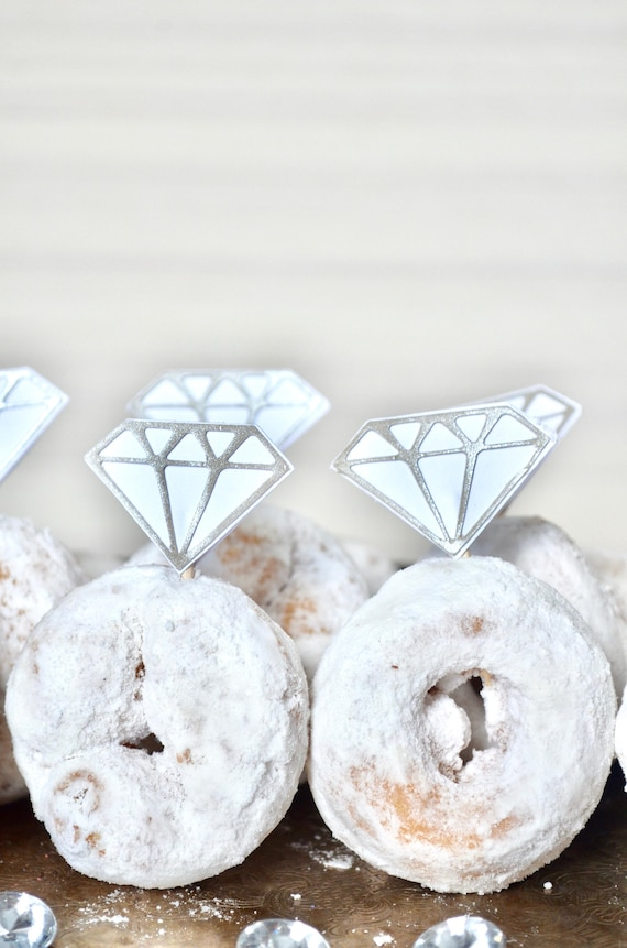"""Diamond """"Ring"""" Toppers or Cake Garland - gem picks for cupcakes, doughnuts, cakes or other desserts!"""