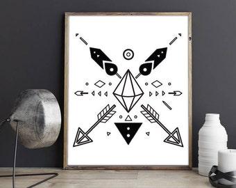 Tribal motif, Boho Print, Tribal Print, Southwest Print, Tribal Art, Aztec Print, printable art, digital print, geometric print, black ink