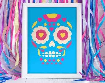 Calavera sugar skull Giclée print (16×20″) in blue, magenta and yellow. Celebrate Day of the Dead or El dia de los Muertos by Happythought