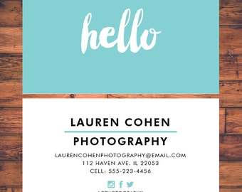 Business Card Modern Minimalist Business Card Calling Cards Template Photography Business Card Design Hello Design Card BC001
