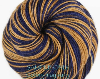 "Dyed to Order: Self striping sock yarn - ""BLUE - GOLD"" - Football Hockey Sports - School - Team colors yarn - Los Angeles - Milwaukee"
