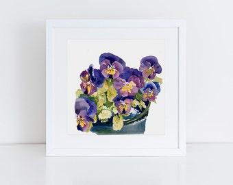 Pansies Watercolor, Original Painting, Floral Art